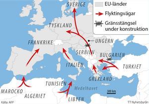 Flyktingarnas väg till EU. Grafik från september 2015.