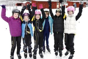 Jubel hos Hagaströms yngsta skridskoåkare när det äntligen fanns is och gick och tävla på Ip. Från vänster Hedvig Wirdby, Rut Hjelm, Annabelle Astner, Fiona Öhlund, Elin Johansson och Tyra Hjelm var alla med i klassen 8-10 år i Haga mini.