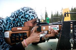 Maria Ibrahim är en pricksäker skytt. Skidskyttesatsningen har gjorts möjlig tack vare pengar från Idrotslyftet.