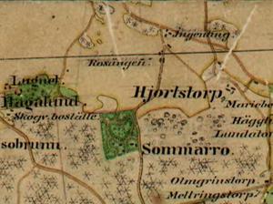 På den häradsekonomiska kartan från 1800-talet kan man se namnet Ingenting ute på gärdet norr om Sommaro.