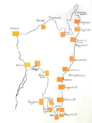 23 platser där eldar ska brinna är markerade på den karta som ritats över Unden.