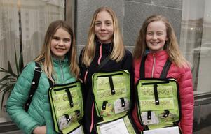 Thea Björkman, Ellen Wadén och Linn Mossnelid kom till kommunhuset för att sälja blommor.