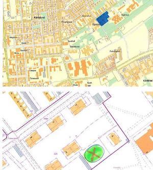 Bygglov söks för fyra Attefallshus i gröna rundeln markerad med kryss,se blått fält. Intill Remonthagen.
