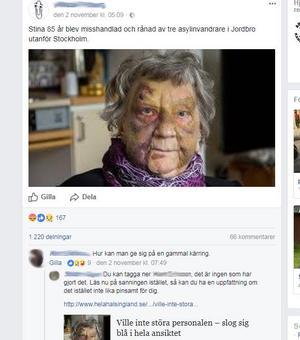 Skärmdump från inlägget som har fått stor spridning på Facebook.