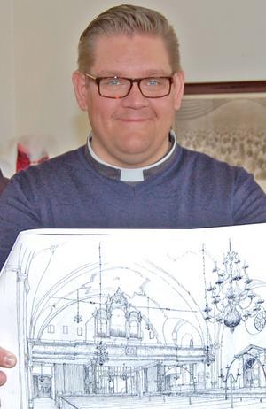 Mattias Rådbo med en av skisserna till ombyggnaden.