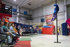Publiken fick stundtals dra efter andan när Olivia Hultman störtade ner för stången. Men cirkusartisten hade läget under kontroll och drog ner stora applåder.