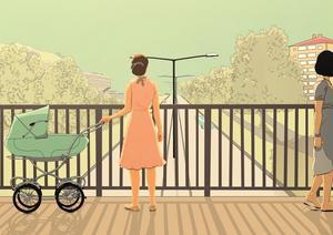 Agnes är ensam med en baby en sommar i Stockholm. Illustration från bokomslaget.