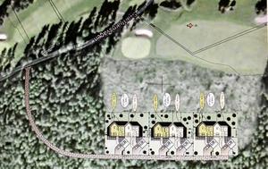 Återbebyggelse. Det har funnits bebyggelse en gång där Lindesbergs golfklubb och Libo planerar att bygga tre parhus vid golfbanans hål 2.  Bild: Roof Arkitekter