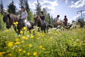 Syskonen Amanda Nilsson och Rebecca Nilsson har gjort det till tradition att varje sommar rida islandshäst tillsammans med mamma Maria Schenell.