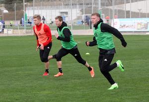 Nyförvärven Ludvig Fritzson, Johan Bertilsson och Darijan Bojanic tog i under sprintövningarna på söndagsförmiddagen.