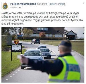 Foto: Inlägg från Polisen Västmanlads Facebook-profil