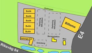 Biltema, ett handelshus med butiker och Helsinge Deli finns med i planerna som kommit in till kommunen. Här har vi gjort en förenkling av en av ritningarna i ansökan.