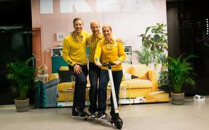 Philip Pernhall, Johan Westling och Anna-Karin Axelsson från Ikea träffade många unga arbetssökande på mässan. Hos dem kunde besökarna vara med och tävla om att vinna en el-scooter.