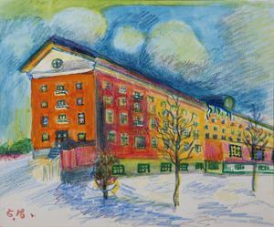 Utan titel, målning av Ester Henning. VIsar centralköket på Beckomberga sjukhus. Hon var inlagd där till 1969 men fick tillgång till papper och färg först 1936. Verket ingår i Gävle Konstcentrums utställning med utgångspunkt i Ester Hennings konstnärskap nu i sommar.