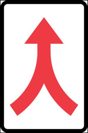 Märket upplyser om att två körfält eller körbanor löper samman till ett och att förarna skall anpassa sig till de nya förhållandena på platsen.