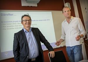 Pär Löfstrand (L) och Niklas Daoson (S) är eniga om hur skolan i Östersund ska utvecklas de närmaste tio åren.