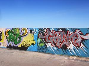 """Pådrivande. Skribenterna menar att Centerpartiet drev på för igenom Vuxenskolans graffittiprojekt """"Här får man""""."""