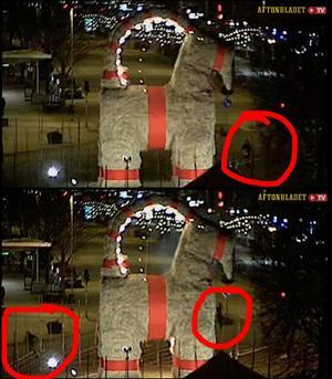 Bilder från kommunens webbkamera, här i en repris på Aftonbladet TV, visar hur en man går fram med en påse till bocken.  Han tar fram något ur påsen och sekunder senare flammar lågor upp. Ett vittne, till vänster i den nedre bilden, springer efter gärningsmannen. Ringarna är gjorda av en av Arbetarbladets läsare som uppmärksammade personerna i bild i sändningen.