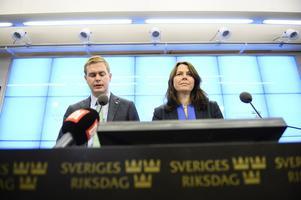 Miljöpartiets språkrör Gustav Fridolin och Åsa Romson håller en pressträff i Riksdagens presscenter i Stockholm med anledning av partiets kris.