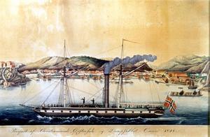 Oscar byggdes för ett rederi i Bergen och för trafik på Kristiania. Målning från 1828 utanför Christiansand.Bilden är inskickad av Ingvar Henricson.