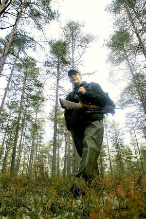 Anders Olsson beger sig ut i skogen på Hornslandet för att inleda årets älgjakt.