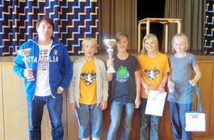 Duktiga schackspelare. Christian Sandberg (3:e plats), Niklas ¿Vatn (14:e), Alfons Emmoth (1:a), Axel Svensson (20:e) och Tora Svensson (25:e), är duktiga schackspelare från Västerås.Foto: Privat