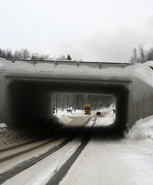 När Hans Johansson körde genom viadukten i riktning mot kyrkan så fick han ett snölass över huv och vindruta från plogbilen som passerade på E4 ovanför.