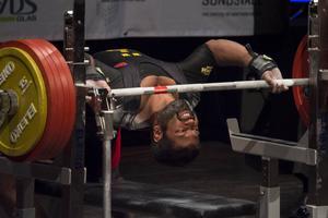 Maj 2015. Amit Selberg, Sundsvalls Atletklubb i 74-kilosklassen i bänkpress-VM i Sundsvall, Tonhallen.
