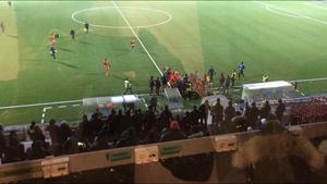 I den 73:e minuten uppstod tumult mellan Syrianska och Dalkurd - efter att tränarna bråkat med varandra.