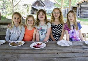 Emmy Mattsson, Selma Eriksson, Anna Schröder, Julia Wachenfeldt och Matilda Sarkkinen är nöjda med temadagen på Bjuråkers forngård.