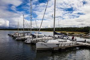 Den nya gästhamnen i Dirhami är ett naturligt första stopp om man korsar Östersjön från Sverige.