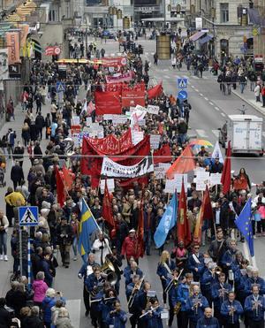 Socialdemokraternas demonstrationståg i Stockholm i fjol.