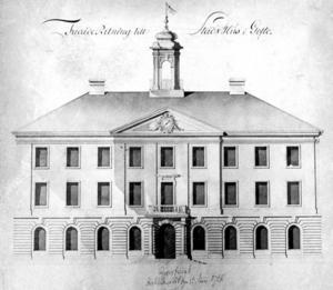 Det här var Carl Fredrik Adelcrantz tredje skissförslag för Rådhuset.