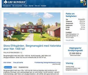 Stora Efrikgården i Österå, utanför Falun, är till salu för hisnande 22 miljoner kronor.