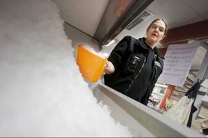 Ismaskinen får nobben så länge parasiten är kvar i Östersund kranvatten. Victoria Bill hämtar is till charkvarorna i Börtnan i stället.