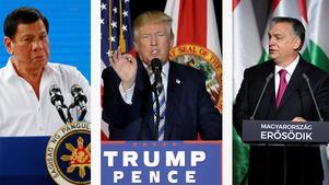 Fillipinernas president Rodrigo Duterte, USA:s president Donald Trump och Ungerns premiärminister Viktor Orban, pekas alla  i rapporten för att använda en