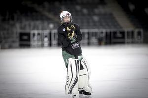 Sara Carlström på fredagens träning på Tele2 Arena.