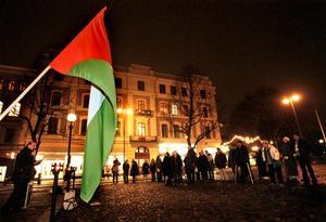Beslut. I dag erkänner Sverige staten Palestina. Bilden från en tidigare manifestation för palestinier.  Arkivfoto: Kicki Nilsson