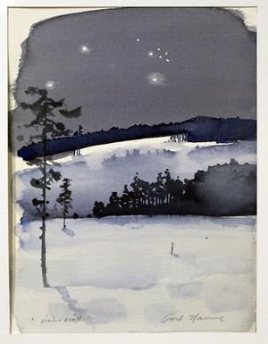Curt Hamne, Vinterkväll, akvarell. Foto: Lars Sundin