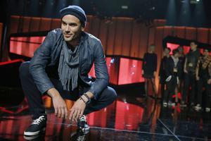 Martin Stenmarck under torsdagens repetitioner inför Melodifestivalens andra deltävling i Linköping.