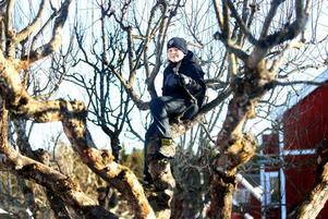 NÄRA RYMDEN. Nu har Viktor Hägg landat hemma  i favorit äppelträdet igen. Här drömmer han om livet som rymdforskare.