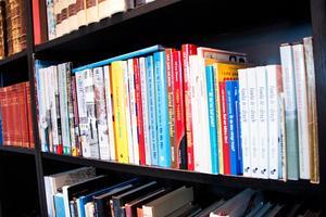 Ett helt hyllplan i bokhyllan fylls av Ulf Ivar Nilssons egna böcker. Förutom lokalhistoriska böcker om Gävle och Gästrikland har han även gett ut samlingar med sina satirteckningar och humor- och kuriosaböcker som