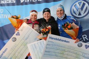 Topp tre i damklassen: Marte Nordlunde, Maja Dahlqvist och Linn Sömskar