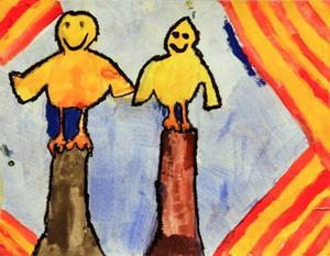 Albin Molander, 8 år, Kövra. Glada kycklingar på varsin pinne.