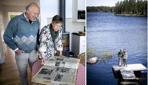 Benny och Vivi-Anne läser i NA från 1965 och njuter på bryggan i sitt sommarparadis utanför Närkesberg.