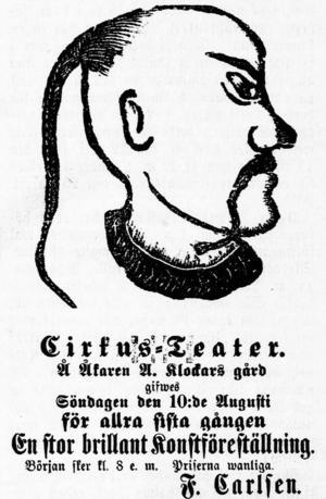 På den här affischen utlovar Frithiof Carlsen en stor brilliant konstföreställning i Vasabladet i augusti 1879.