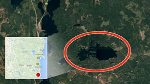 I det här området strax öster om Tönnebro försvann kvinnan från sitt sällskap under söndagseftermiddagen.