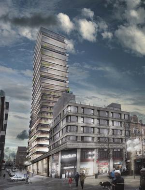 Mitt emot Lunagaraget, bakom Stadium, vill Fastighets AB Regio bygga ett 23-våningshus. Nu ska detaljplanearbetet inledas.