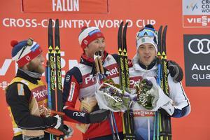 Falun 170129FIS Cross-Country World Cup herrar 30 kmMartin Johnsrud Sundby, Emil Iversen och Calle HalfvarssonFoto Nisse Schmidt