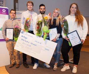 Gruppen bakom Villa Solgläntan är fr v Sami Butt, Fredrik West, George Saliba, Julia Adolfsson och Amanda Roberg